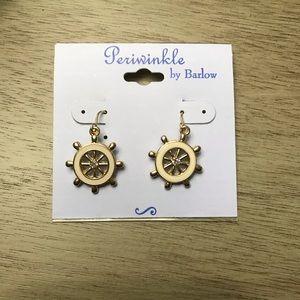 Jewelry - Enamel and Crystal Ship Wheel Dangling Earrings